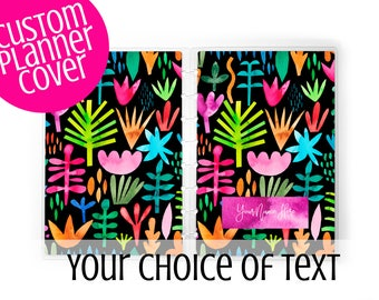 Abstract Floral Planner Cover for use with Erin Condren Lifeplanners™, Staples® Arc, The Happy Planner™, and TUL™   Personalized Custom