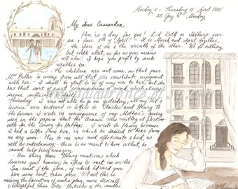 Jane Austen's letter to Cassandra.  Art Print. 8x10 inches.