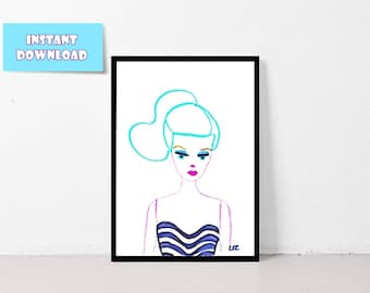Digital Download, Printable Wall Art, Home Decor | Swimwear Barbie (with Teal hair)