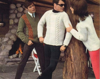 Forest & Glen • 1960s Pullover Sweater Patterns • 60s Vintage Cabled Knitting Pattern • Retro Men's Knit Digital PDF