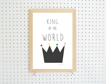 King of the World Nursery Printable A4 Digital Instant Download