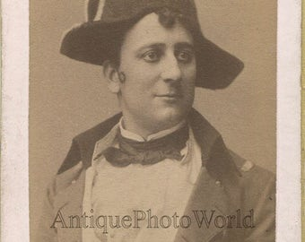 Handsome Danish actor as Napoleon antique CDV theater photo