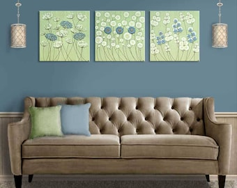 Extra Large Wall Art Flower Paintings on Canvas, Set of 3 in Green and Blue Textured Square Paintings - 62x20
