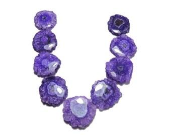 9 Pieces Very Cute Natural Purple Solar Quartz Druzy Round Shaped Loose Gemstone Size 29X25-23X23 MM