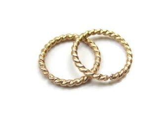 Twisted Solid Gold Small Hoop Earrings Cartilage Rings 18Gauge 10mm, One Pair