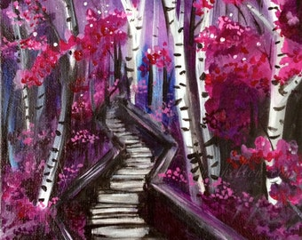 "Original Painting ""Forest Pathway"" 8x10 inches by Amanda Christine Shelton, Purple Forest painting, Woodland Art"