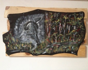"Original painting on leather - wolf - ""look out"""