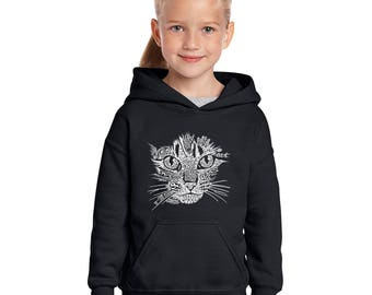 Girl's Hooded Sweatshirt - Created out of Cat Themed Words Cat Face