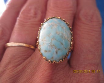BEAUTIFUL Austria Blue & White Speckle w/ Gold 3 Band Style Adjustable Ring... Rescued/Upcycled....7563..Gifts 4 Her,Gifts 4 Mom,Retro Girl,