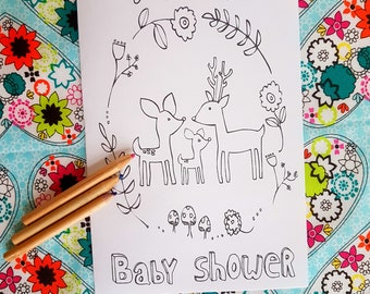 Baby Shower Games - Printable Baby Shower Coloring Page - Games for Baby Shower - Baby Shower Favors - Shower Favors - Instant Download