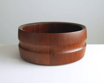 Dansk JHQ Denmark Staved Teak Wood Salad Serving Bowl 4 Ducks Jens Quistgaard