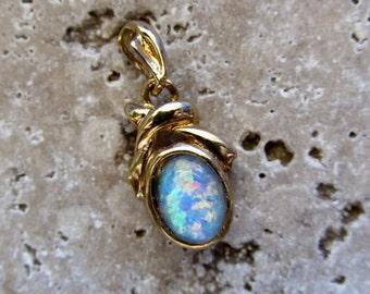 Beautiful Opal Triplet set in Gold Pendant