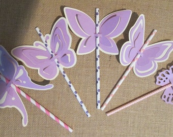 Paper Straws and 12 Fancy Butterfly Straw Favors Baby Shower Birthday Party Birthday Favors Butterflies Party Decorations Drinking Straws
