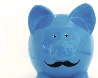 Mustache Piggy Bank - Personalized Piggy Bank with Mustache - Ceramic Bank for Men - Manly Piggy Bank - with hole or NO hole in bottom