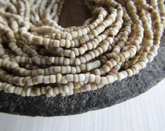 MINI beige seed beads, ivory cream no2 glass beads opaque rustic color organic tube barrel spacer  indonesian 1 to 2mm /44 inches, 7ab1-2