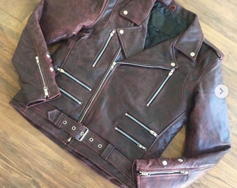 Men black leather biker motorcycle jacket