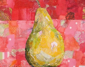 """PEAR SHAPED Original Paper Collage Painting 6 X 6"""" on Gallery Wrapped Canvas"""