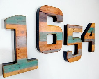 "Reclaimed Wood Look - 8"" Numbers & Letters - Custom"
