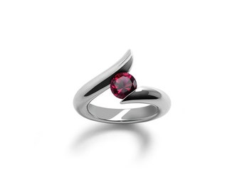 Garnet Ring Tension Set Polished Stainless Steel Mounting