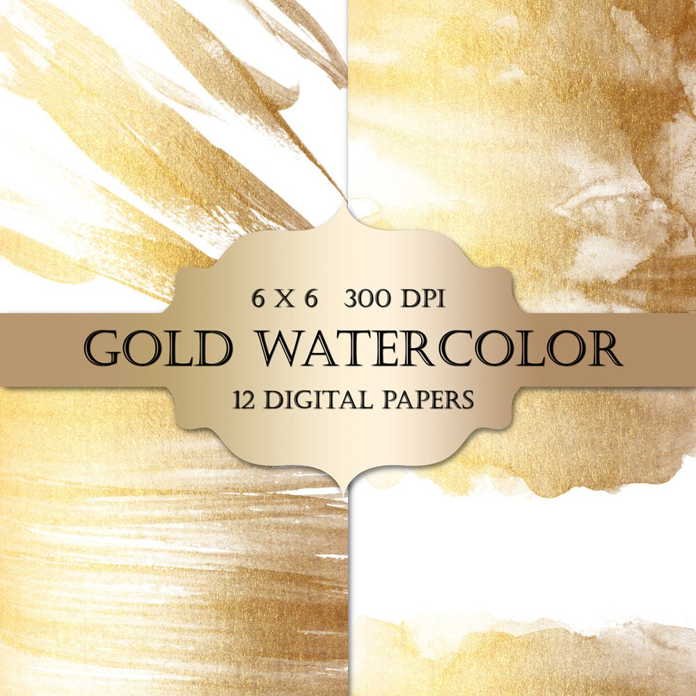 Gold Watercolor Digital Papers gold glitter watercolor