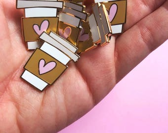 valentines day gift for mom coffee cup pin hard enamel pin for her best friend coffee lover pin valentine lapel pin gift for her pink heart