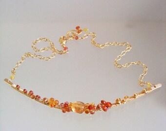 Orange Gemstone Necklace, 14k Gold Filled Necklace, Spessartite and Golden Sapphire Hammered Bar Choker, Delicate Gem Necklace, Artisan Made