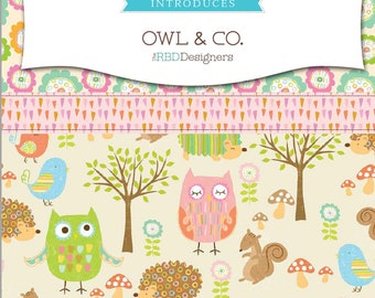 Riley Blake Owl & Co. | Precuts | Fat Quarters | Fabric Bundle | Quilting Cotton