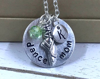 Dance Mom - Personalized - Hand Stamped Necklace with Charm, Initial, and Birthstone Crystal