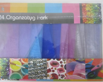 Set of 24 strips of organza in pastel shades for your scrapbooking