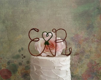 Rustic Wedding Initials Cake Topper, Monogram Wedding Cake Decoration, Rustic Centerpiece, Wedding Centerpiece, Bridal Shower Decoration