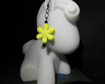 Neon Yellow Flower Drop Earrings