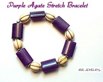 Purple and White Stretch Bracelet, Ultra Violet Jewelry, Cute Summer Bracelet - B2016-15