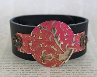 Leather Bracelets for Women, Leather Cuff Bracelets, Vintaj Jewelry, Pink Red and Yellow Jewelry, Bracelet, Cuff Bracelet,, Boho Jewelry