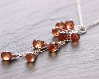 Champagne Cubic Zirconia Cascade Sterling Silver Necklace, Peach Cubic Zirconia Cluster Necklace, Cubic Zirconia Jewelry, CZ Necklace