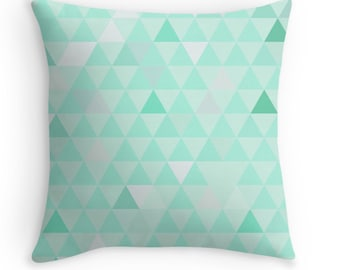 Mint Pillow Cover, Decorative Throw Pillow with a Geometric Triangle Design