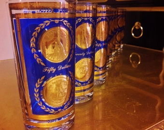 22K Gold CULVER HIBALL GLasses Set of 6 Royal Blue Fifty & Twenty Dollar Gold Coin Pieces Walking Liberty Eagle In God We Trust