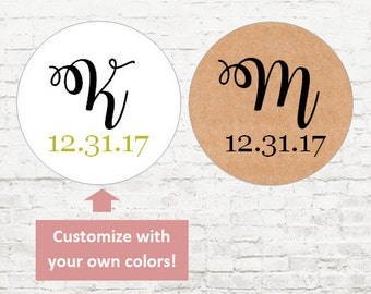 Initials Personalized Stickers, Custom Wedding Stickers, Baby Shower, Wedding Favor Stickers, Wedding Stickers, Envelope Seals, Invites
