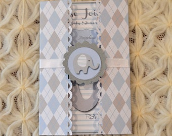 Invitations, Baby Elephant Tri Fold Baby Shower Invite set of 10 in either pink, blue or mint Argyle Patterned Cardstock