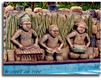 Trio of Musicians. Carved cement mural. Music Jam mural, Marimba band, Percussion trio, Musicians mural, Instant digital download at 300 dpi