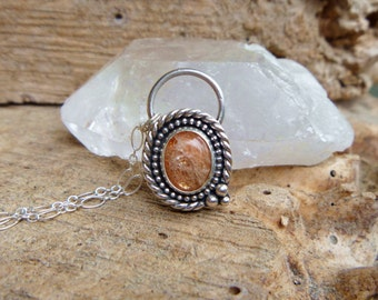 """Sunstone & sterling silver necklace // 18"""" chain // Sunstone jewelry // silver jewelry // Chatoyant"""