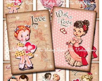 Printable Valentine's Day Cards/Tags, Instant download, Vintage-inspired digital collage sheet.