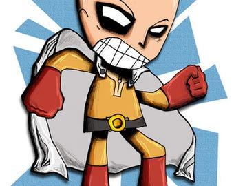 One Punch Man Saitama Art Print Manga Illustration Anime