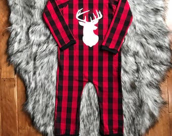 Baby Romper / Toddler Romper / Unisex Romper / Christmas outfit / First Christmas outfit / Buffalo Plaid Romper / Lumbar Jack Birthday