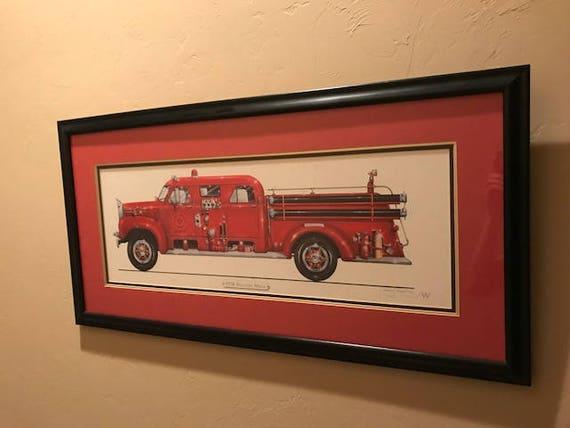 Graham F Wilmott Firetruck Print Framed