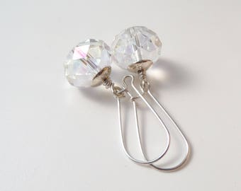 Clear Crystal Earrings, Bling earrings, Large crystal, Statement Earrings, Kidney wires, Big Bold Earrings, Party Earrings,