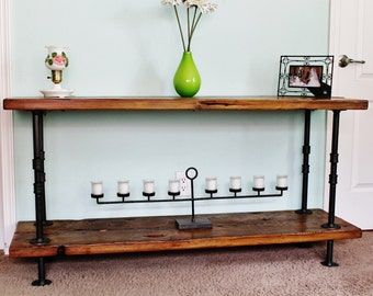 Console Table, Sofa Table, Reclaimed Wood Console Table, Pipe Legs, Rustic Console Table, Industrial Console Table, Pipe Console Table