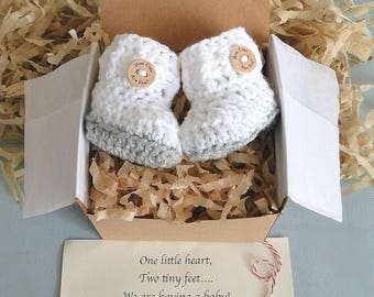 Pregnancy Reveal to Grandparents, Baby Announcement, Baby Reveal, BOOTIES IN A BOX® Ribbed Cuff, Newborn Baby Booties, Ready To Ship