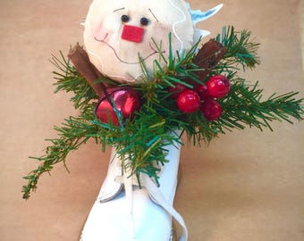 Gingerbread holiday centerpiece | Christmas floral arrangement | Babys first Christmas gift | Rustic winter decor | Country Xmas decoration