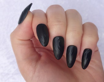Almond Shaped, Matte Black & Glossy Waves, Gel, Hand Painted Nail Tips / Press On / Stick On / Fake Nails - 12 pcs or 20 pcs