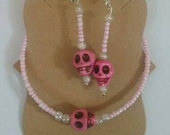 Skull Bracelet and Earrings Set
